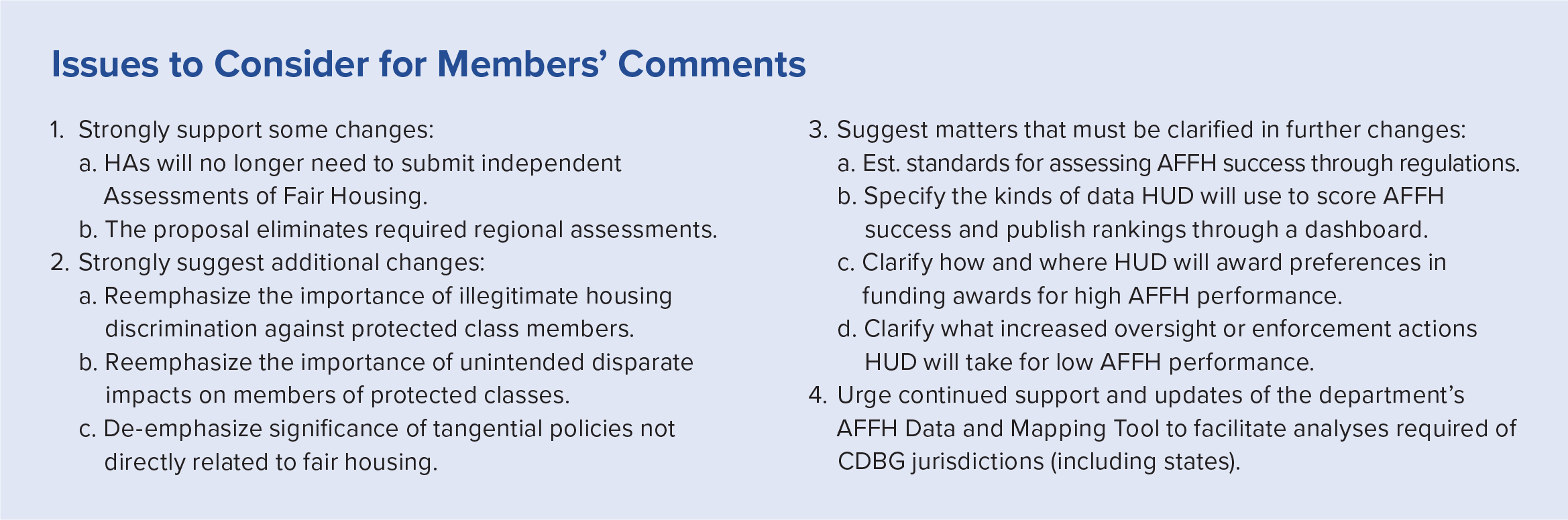 Sidebar box with issues to consider for PHADA Members' comments proposed AFFH rule.